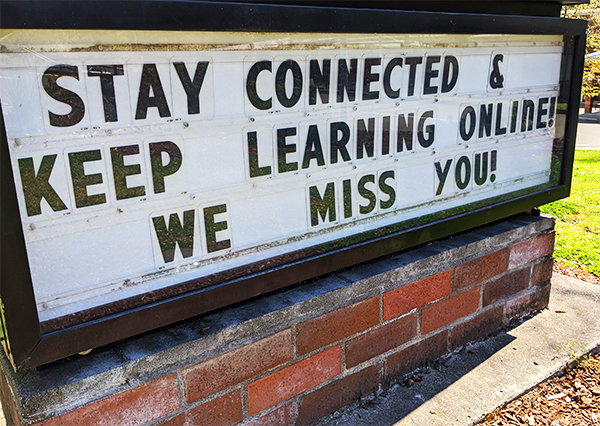 school-sign-stay-connected